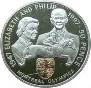 50 Pence - Elizabeth II (Montreal Olympics; Silver Proof Issue) – reverse