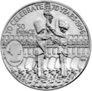 50 Pence - Elizabeth II (70th Birthday - Queen Elizabeth II) – reverse