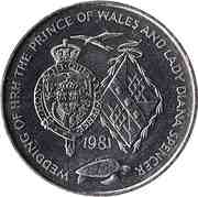 25 Pence -  Elizabeth II (Royal Wedding) – reverse