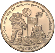 1 Crown - Elizabeth II (First man on the moon) – reverse