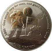 1 Crown - Elizabeth II (First man on the moon, Titanium) – reverse