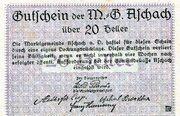 20 Heller (Aschach a. d. Donau; Violet issue) – reverse