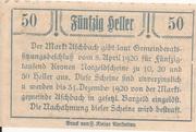 50 Heller (Aschbach) – reverse