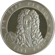 5 Pounds - Elizabeth II (Sir Isaac Newton; Silver Proof Issue) -  reverse