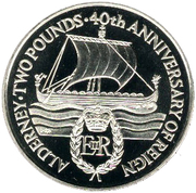 2 Pounds - Elizabeth II (40th Anniversary of Queen's Reign; Piedfort) -  reverse