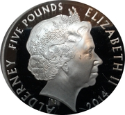 5 Pounds - Elizabeth II (D-Day; silver) – obverse