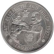 2 Pounds - Elizabeth II (Golden Wedding) -  reverse