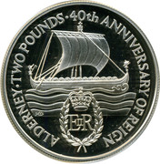 2 Pounds - Elizabeth II (40th Anniversary of Queen's Reign; Silver Proof Issue) -  reverse