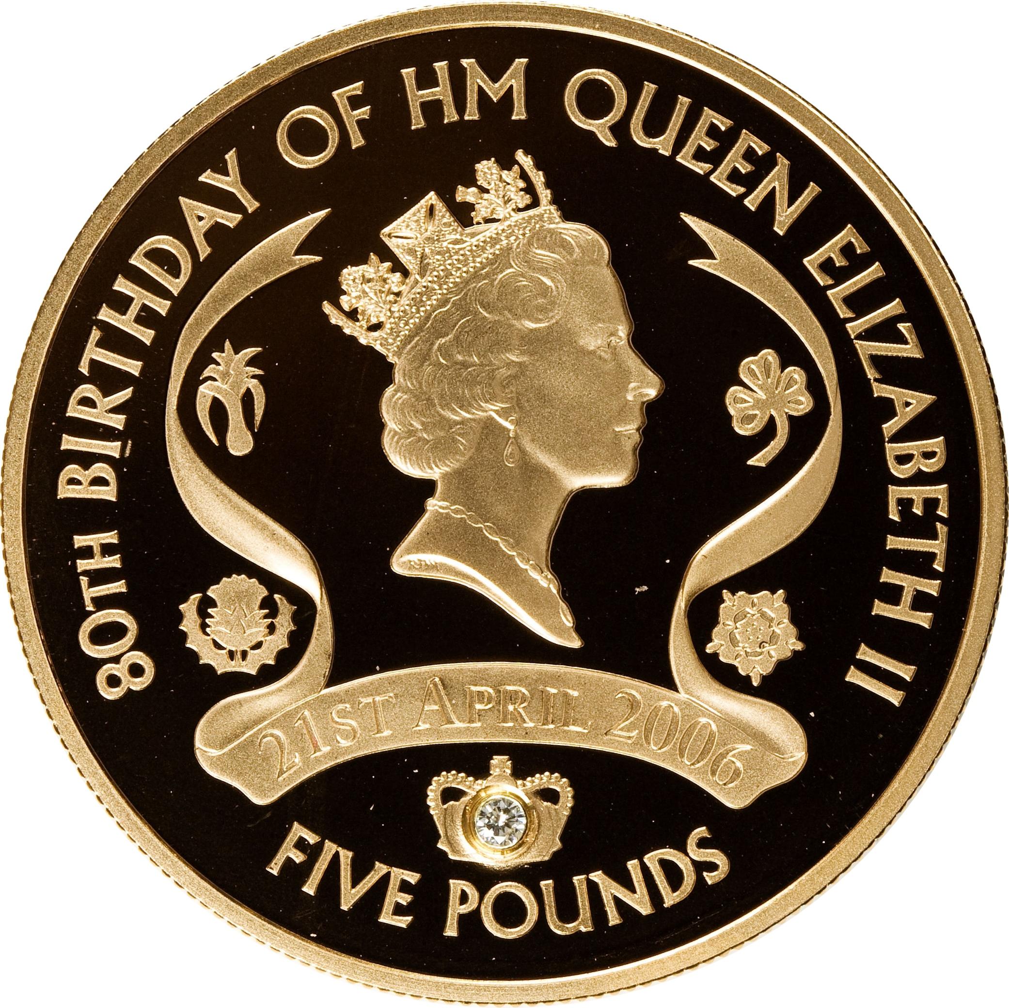 5 Pounds Elizabeth Ii Queen Elizabeth Ii Gold Proof Issue