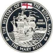 5 Pounds - Elizabeth II (The Mary Rose) -  reverse