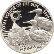 2 Pounds - Elizabeth II (Total Eclipse of the Sun; Silver Proof Issue) -  reverse