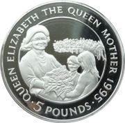 5 Pounds - Elizabeth II (Queen Mother receiving flowers) -  reverse
