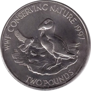 2 Pounds - Elizabeth II (Puffins; Silver issue) -  reverse