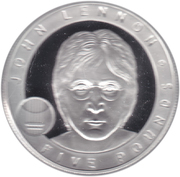 5 Pounds - Elizabeth II (John Lennon; Silver Proof Issue) -  reverse