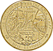 5 Pounds - Elizabeth II (H.M.S Revenge) -  reverse