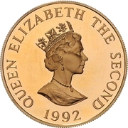 2 Pounds - Elizabeth II (40th Anniversary of Queen's Reign; Gold Proof Issue) – obverse