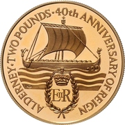 2 Pounds - Elizabeth II (40th Anniversary of Queen's Reign; Gold Proof Issue) – reverse