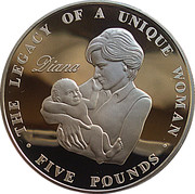 5 Pounds - Elizabeth II (Princess Diana; silver) -  reverse
