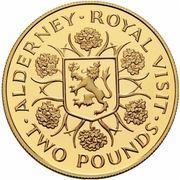 2 Pounds - Elizabeth II (Royal Visit; Gold Proof Issue) – reverse