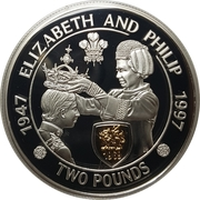 2 Pounds - Elizabeth II (Golden Wedding Silver Proof) -  reverse