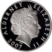 5 Pounds - Elizabeth II (60th Wedding Anniversary; Honeymoon departure; Silver Proof Issue) -  obverse