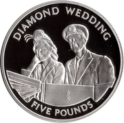 5 Pounds - Elizabeth II (60th Wedding Anniversary; Honeymoon departure; Silver Proof Issue) -  reverse