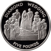 5 Pounds - Elizabeth II (60th Wedding Anniversary; Portraits; Silver Proof Issue) -  reverse