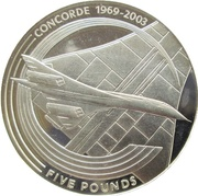 5 Pounds - Elizabeth II (Concorde; Silver Proof Issue) -  reverse