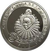 5 Pounds - Elizabeth II (Queen Elizabeth I; Silver Proof Issue) -  reverse