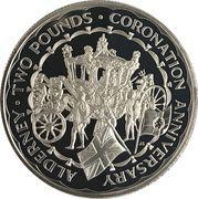2 Pounds - Elizabeth II (Coronation Jubilee; Silver Proof Issue) – reverse