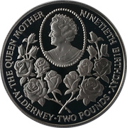 2 Pounds - Elizabeth II (Queen Mother's 90th Birthday; Silver Proof Issue) – reverse
