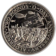 2 Pounds - Elizabeth II (D-Day) -  reverse