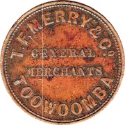 1 Penny (T.F. Merry & Co - Toowoomba, Queensland) -  reverse