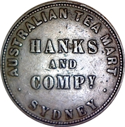 1 Penny Token (Hanks & Company - Sydney, New South Wales) -  obverse