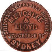 1 Penny (Metcalfe & Lloyd - Sydney, New South Wales) -  obverse