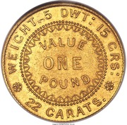 "1 Pound - Victoria ""Adelaide Pound"" (South Australia Colony; Dentilated inner circle) – reverse"