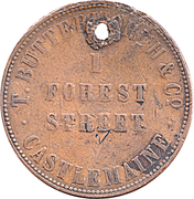 1 Penny - T. Butterworth & Co. (Castlemaine, Victoria ) -  obverse