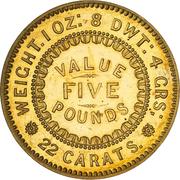 5 Pounds - Victoria (South Australia Colony; Pattern; Restrike) – reverse