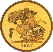5 Pounds - Victoria (Golden Jubilee) -  reverse