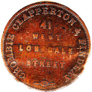 ½ Penny (Crombie,Clapperton & Findlay - Melbourne, Victoria) -  reverse