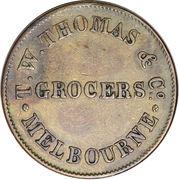 ½ Penny (T. W. Thomas & Co. - Melbourne, Victoria) – obverse