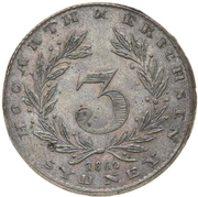 3 Pence (Hogarth, Erichsen & Co - Sydney, New South Wales) -  obverse