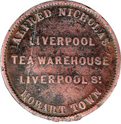 ½ Penny (Alfred Nicholas - Hobart, Tasmania) -  reverse