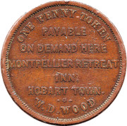 ½ Penny (W.D.Wood - Hobart, Tasmania) -  reverse