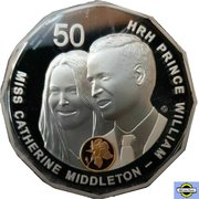 50 Cents - Elizabeth II (4th Portrait - William and Kate Royal Wedding - Silver Proof) -  reverse