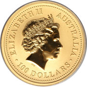 100 Dollars - Elizabeth II (4th Portrait - Year of the Snake - Gold Bullion Coin) -  obverse