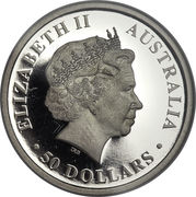 50 Dollars - Elizabeth II (4th Portrait - Kangaroo - Platinum Bullion Coin) -  obverse