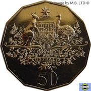 50 Cents - Elizabeth II (4th Portrait - Federation - Australia COA) -  reverse