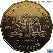 50 Cents - Elizabeth II (4th Portrait - Federation - New South Wales) -  reverse