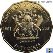 50 Cents - Elizabeth II (4th Portrait - Federation - Queensland) -  reverse